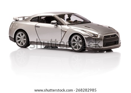 YOKOHAMA, JAPAN - APR 04- Toy Nissan GT-R on white background, Saturday 04 April 2015 - stock photo