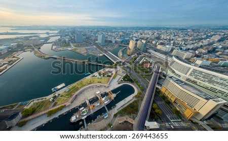 YOKOHAMA, JAPAN - APRIL 10 : Aerial view of Yokohama city and Yokohama bay on 10 April 2015 in Yokohama, Japan. Yokohama is the third biggest city in Japan. - stock photo