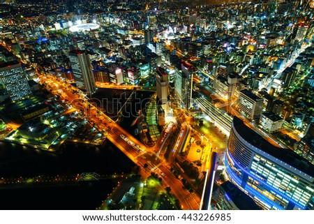 "YOKOHAMA, JAPAN - NOVEMBER 24 2015: Minato Mirai 21 is a seaside urban area in central Yokohama whose name means ""Harbor of the Future"" - stock photo"