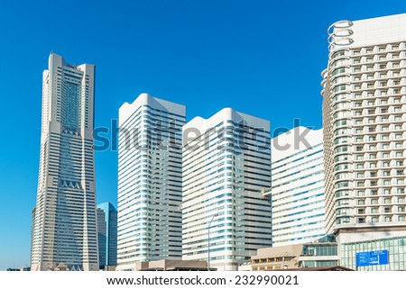YOKOHAMA, JAPAN - November 23: Yokohama Minato Mirai 21 in Yokohama, Japan on November 23, 2014. It is a large urban development and the central business district of Yokohama, Japan. - stock photo