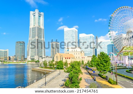 YOKOHAMA, JAPAN - September 14: Yokohama Minato Mirai 21 Area in Yokohama, Japan on September 14, 2014.  It is a large urban development and the central business district of Yokohama, Japan.