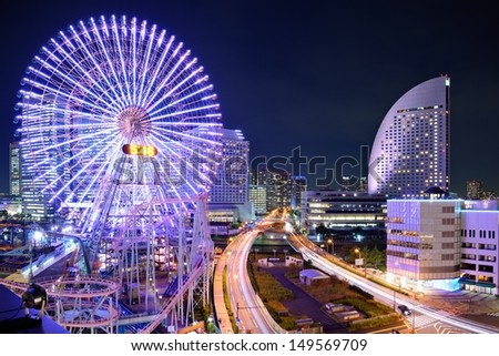 Yokohama, Japan skyline at Minato-mirai at night. - stock photo