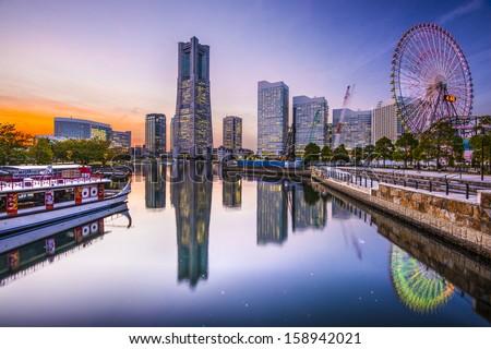 Yokohama, Japan skyline at Minato Mirai waterfront district. - stock photo