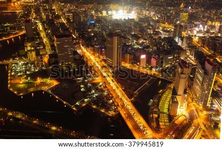 Yokohama, Japan waterfront cityscape at night - stock photo