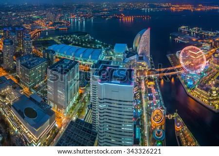 Yokohama, Japan waterfront cityscape from landmark tower - stock photo