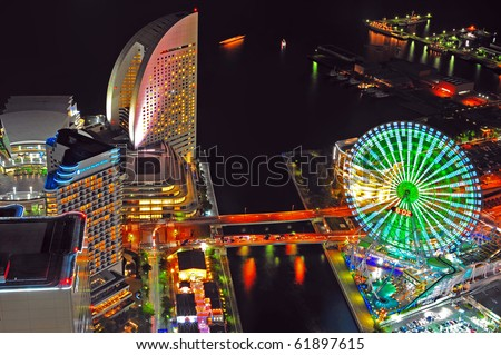 Yokohama night view from Yokohama landmark showing the Yokohama Bay and Cosmo world, the famous amusement park in Yokohama city/ Yokohama Bay/Yokohama Bay - stock photo