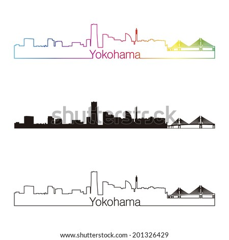 Yokohama skyline linear style with rainbow