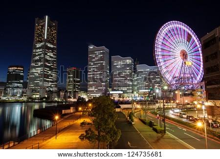 Yokohama skyline night view - stock photo