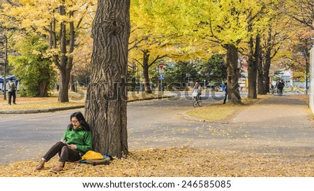 YOKOSO, JAPAN - NOVEMBER 7: Street in YOKOSO, Japan on November 5 , 2014. The street nearby Meiji Jingu Gaien that has beautiful Ginkgo along the lenght of the street