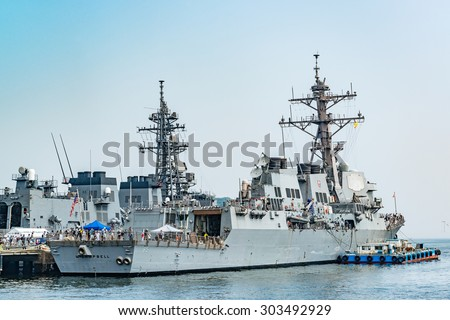 YOKOSUKA, JAPAN - AUGUST 1: USS McCampbell guided missile destroyer of the United States Navy at JMSDF Yokosuka Naval Base in Yokosuka, Japan on August 1, 2015. - stock photo
