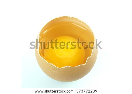 Yolk in the shell,White background