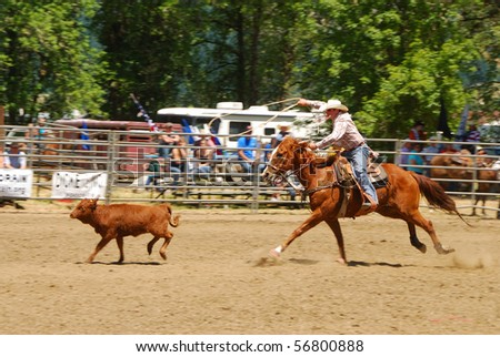 YONCALLA, OR - JULY 4: Calf Roping on the 4th of July in this Northwest Professional Rodeo Association stop in the small southern Oregon town. July 04, 2010 in Yoncalla, OR - stock photo