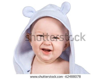 Yong baby isolated on white background - stock photo