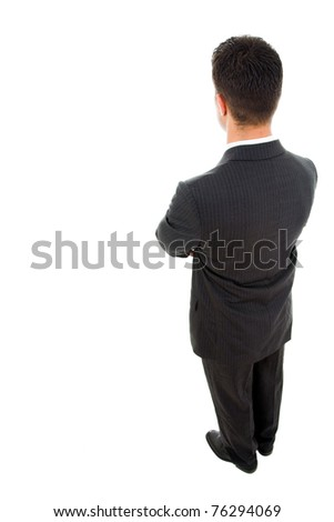 Yong business man from the back, isolated on white - stock photo