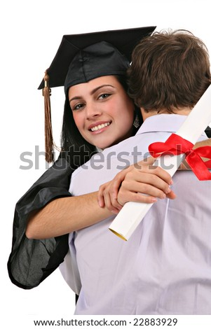 Yong Man Hug and Congratulate Female Graduate Student