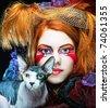 yong princess with cat. creative fantasy make-up. - stock photo