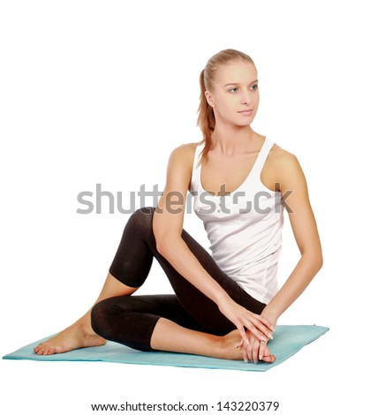 Yong woman exercise yoga pose , isolated on white background - stock photo