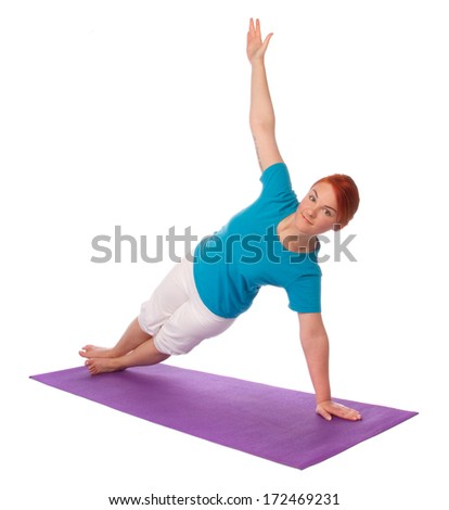 Yong woman exercise yoga pose on mat, isolated on white background
