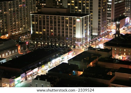 yonge street at night long exposure - stock photo