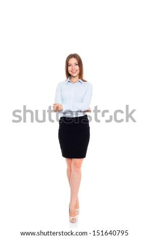 Yonug businesswoman smile, folded hands, young attractive business woman, full length portrait isolated over white background - stock photo