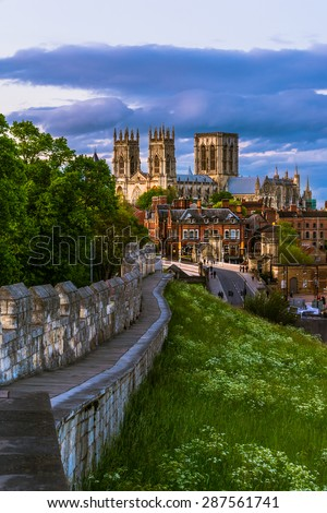 York cityscape view from the mediaeval walls with York Minster in the background.