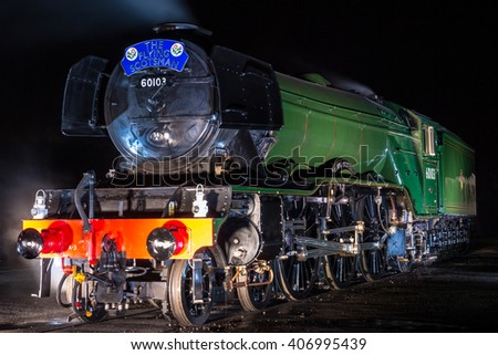 YORk, ENGLAND - FEBRUARY 28: The Flying Scotsman at the National Railway Museum (NRM) on August 28 2016 in York, England. - stock photo
