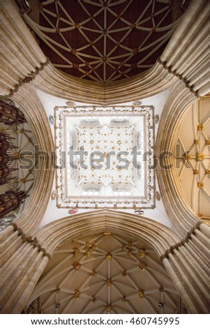 York, England - 8 July, 2016: York Minster in the city of York is the largest gothic cathedral in northern Europe & the seat of the Archbishop of York, the 2nd highest office in the Church of England