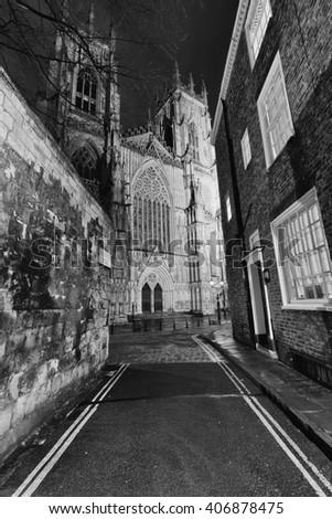 York Minster at night UK - stock photo