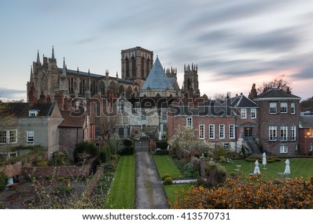 York Minster at sunset, from the City Walls to the North - stock photo