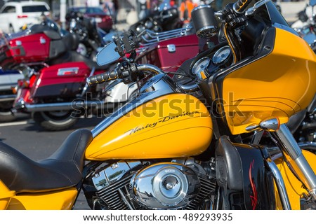 York, PA - September 23, 2016: Close Up of yellow cycle parked at the annual Harley-Davidson Factory Open House.