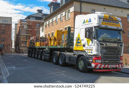 YORK, UK - CIRCA AUGUST 2015: Scania long vehicle truck for heavy transport parked in a street of the city centre