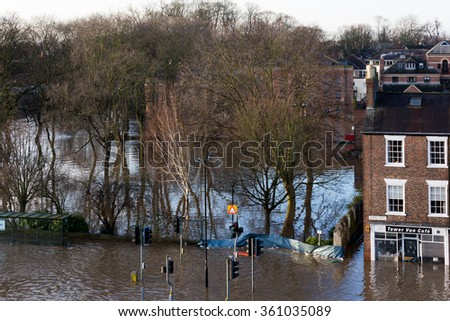 YORK, UK - DECEMBER 27th 2015: Flood waters in York City Centre after heavy rain, on 27th December  2015. - stock photo