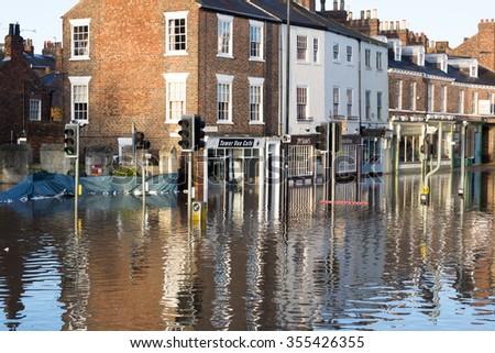 YORK, UK - DECEMBER 27th 2015: York City Centre after heavy rain, on 27th December  2015. - stock photo