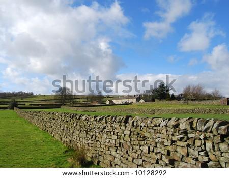 Yorkshire Dales farmland showing traditional stone walls - stock photo