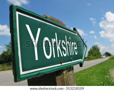 Yorkshire signpost along a rural road - stock photo