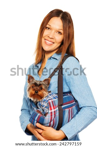 Yorkshire Terrier in dog's carrying bag with woman - stock photo