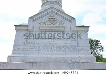 Yorktown Victory Monument in Yorktown Virginia - stock photo