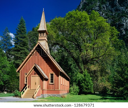 Yosemite Chapel in spring, Yosemite National Park, California - stock photo