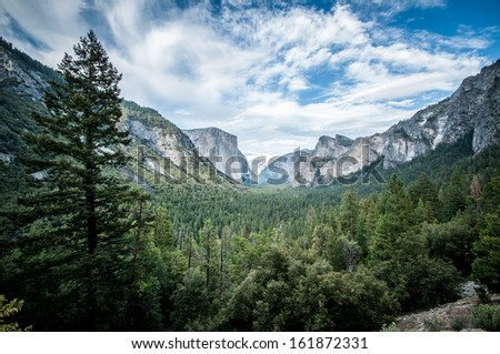 Yosemite el capitan and half dome scienic view panorama - stock photo