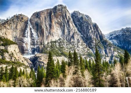 Yosemite Falls seen from the valley below. Yosemite National Park, California - stock photo