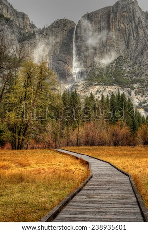 Yosemite Falls Yosemite Valley National Park California in autumn - stock photo