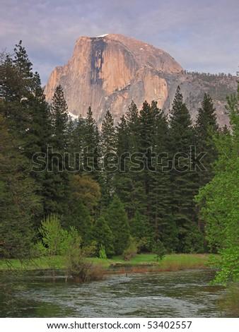 Yosemite Half Dome in Dusk - stock photo