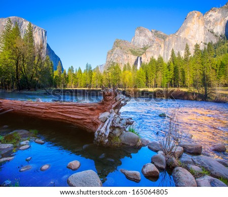 Yosemite Merced River el Capitan and Half Dome in California National Parks US - stock photo