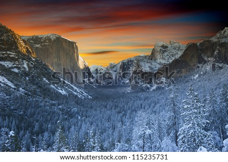 Yosemite National Park. Beautiful landscape from winter time at Yosemite, California, USA - stock photo