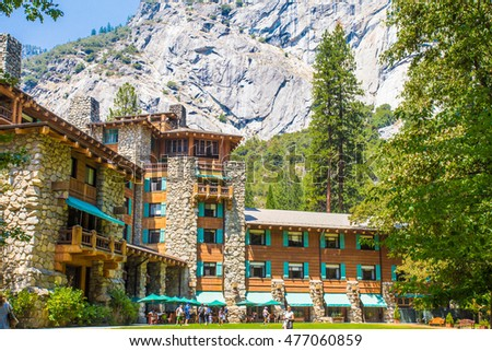 YOSEMITE NATIONAL PARK, CA - AUGUST 3, 2016:  View of historic Majestic Yosemite Hotel, formerly known as Ahwahnee Hotel in Yosemite Valley.