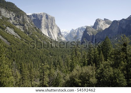 Yosemite National Park forest, mountains, and waterfall. - stock photo