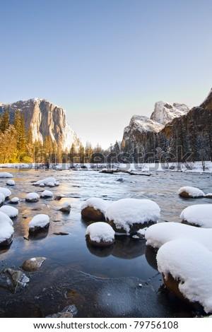 Yosemite National Park in Winter - stock photo