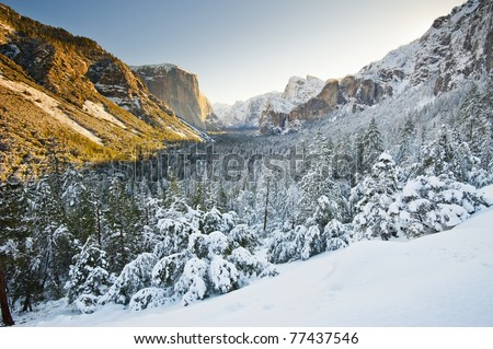 Yosemite National Park in Winter with snow on the mountain - stock photo