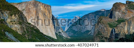 Yosemite National Park panoramic landscape.  Yosemite National Park, California USA.