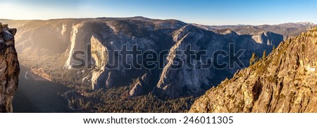 Yosemite National Park, panoramic view - stock photo
